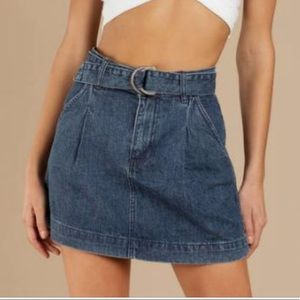 NWT Free People Jade Denim Belted Skirt Size 30